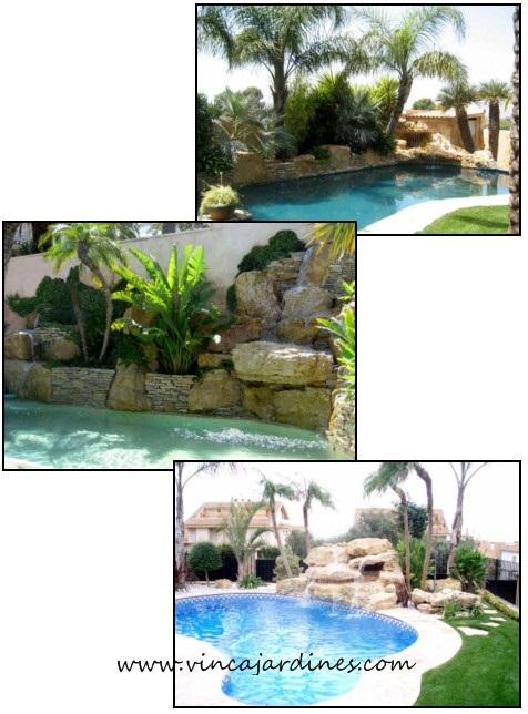 Cascadas para piscinas en valencia for Cascadas para jardin piedra